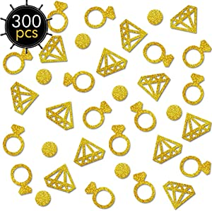 Gold Confetti(300Pcs) Diamond ring confetti Glitter Confetti Wedding Table Decoration Party Table Confetti Bridal Shower Engagement party hen party decor Table Scatter Valentines Day Baby Shower