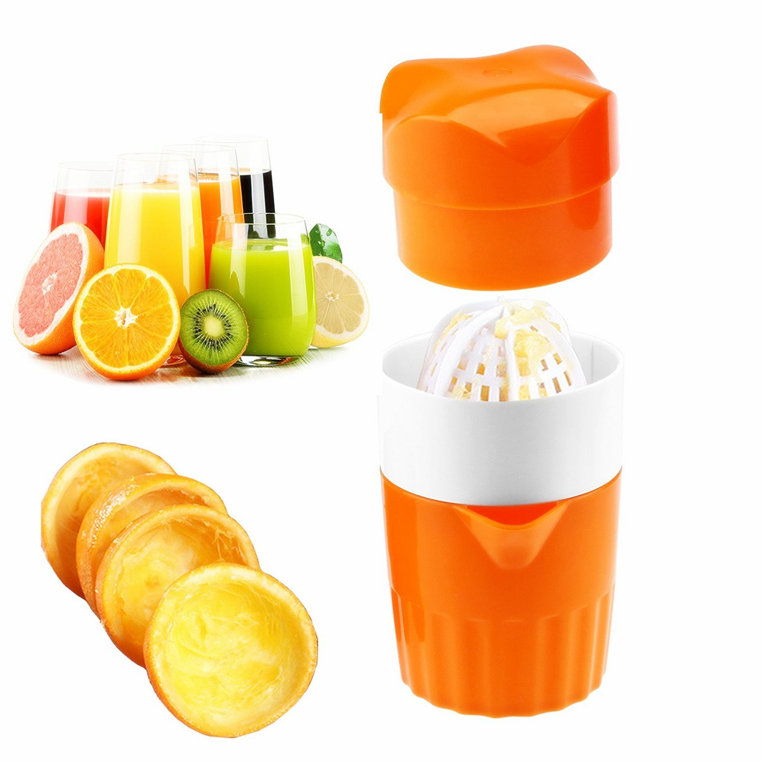 Manual Lid Rotation Citrus Juicer, Lemon, Orange, Tangerine & Lime Juice Squeezer: Press & Squeeze Fruits Easily! Professional Portable Presser w/ Pulp Filter & Cup, Squeezing Plastic Kitchen Tool Aisige