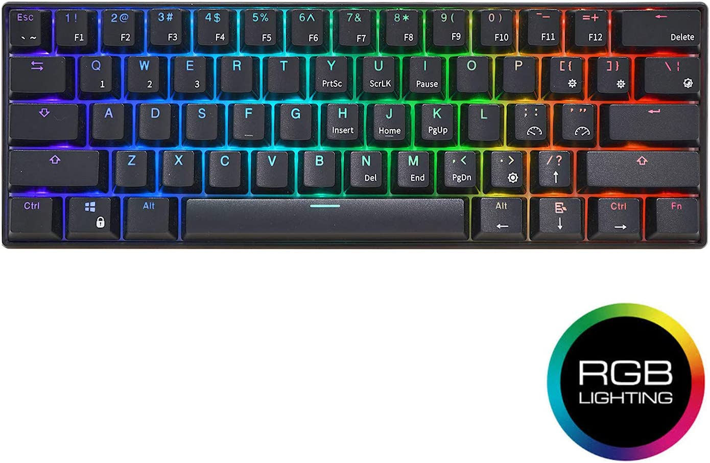 RK ROYAL KLUDGE RK61 Wired 60% Mechanical Gaming Keyboard RGB Backlit Ultra-Compact Red Switch Black