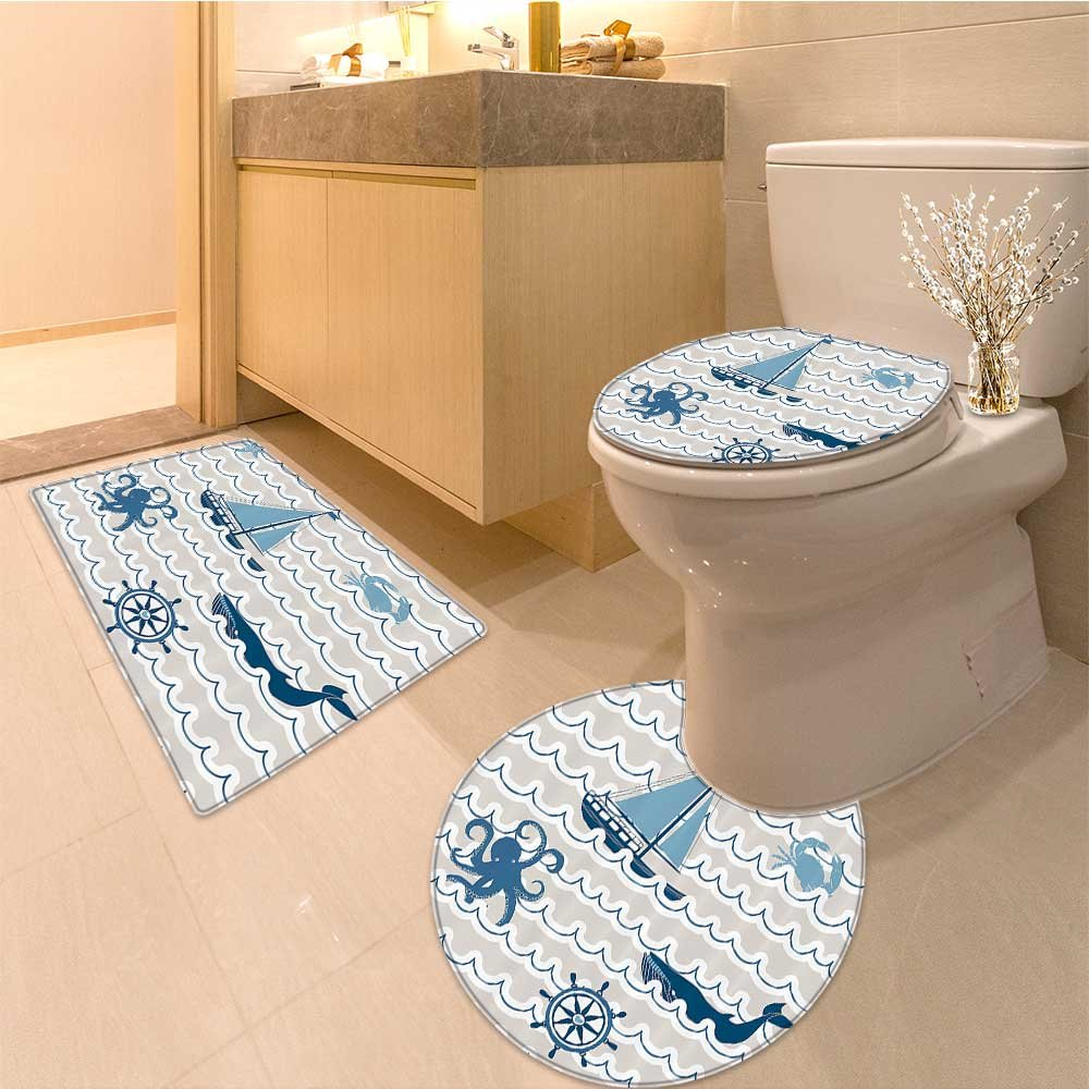 3 Piece Anti-slip mat set Wave Pattern with Elements Icons Crab Starfish and Artwork Long Beige Blue White Non Slip Bathroom Rugs