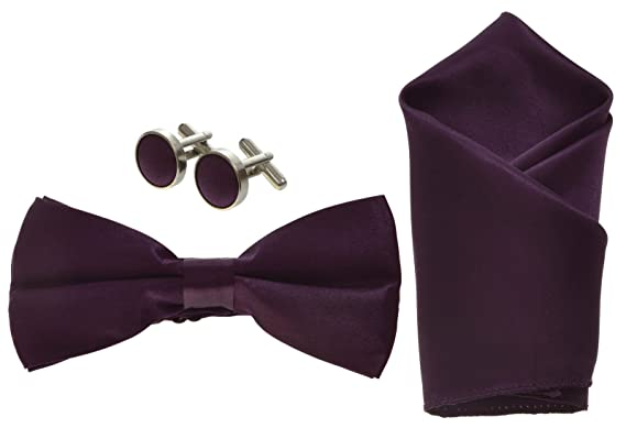 dc06d2a9866e Deep Purple Mens Bow Tie, Cufflinks and Pocket Square Handkerchief Set:  Amazon.co.uk: Clothing