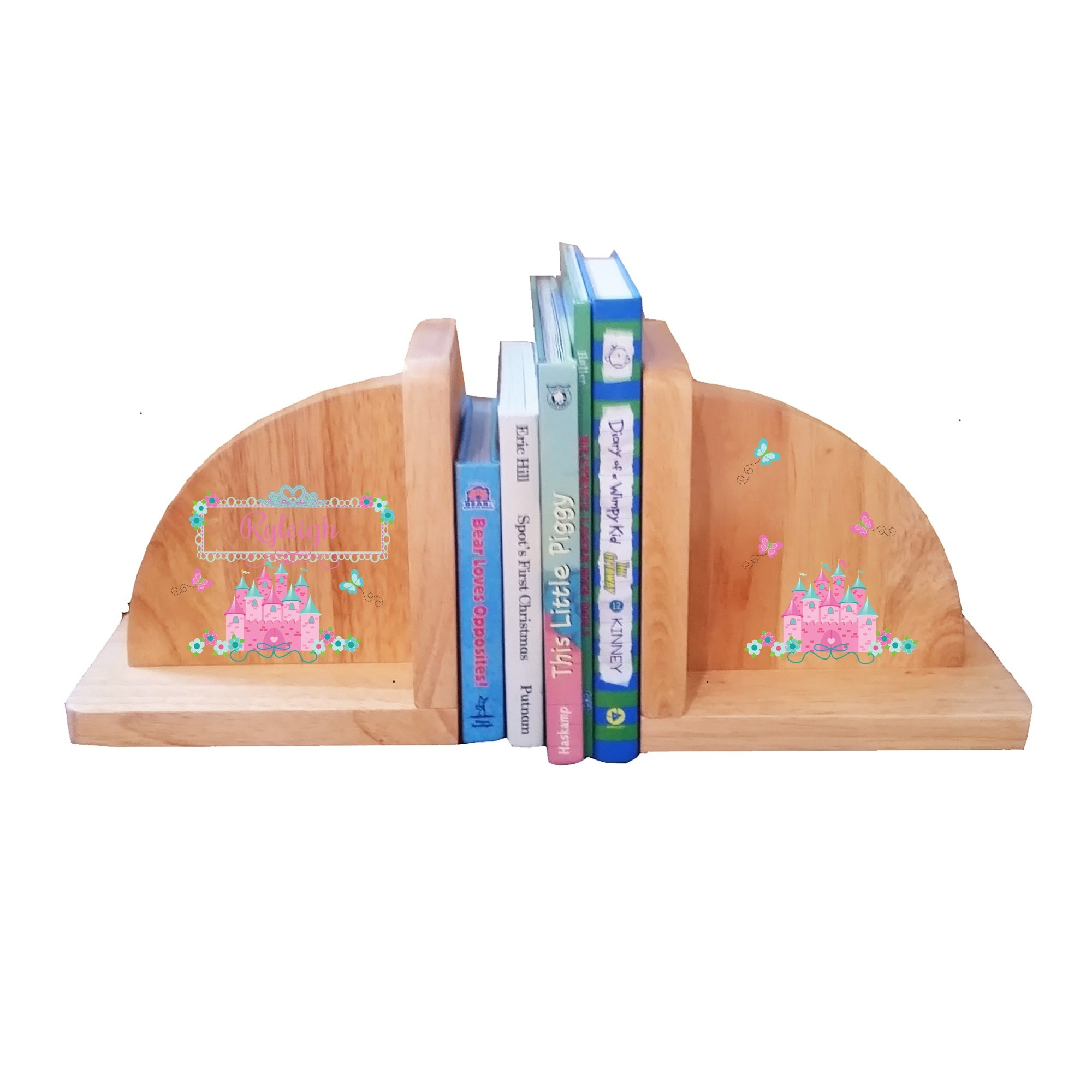 Personalized Pink Teal Princess Castle Natural Wooden Bookends