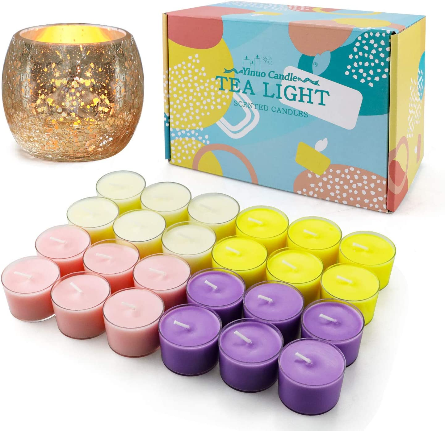 Tea Lights Candles Bulk Small Scented Candles for Home 8 Hours Romantic Aromatherapy Votive Candles Gift for Birthday Home Holiday Wedding Anniversary Decorations 24 Pack with a Tealight Candle Holder