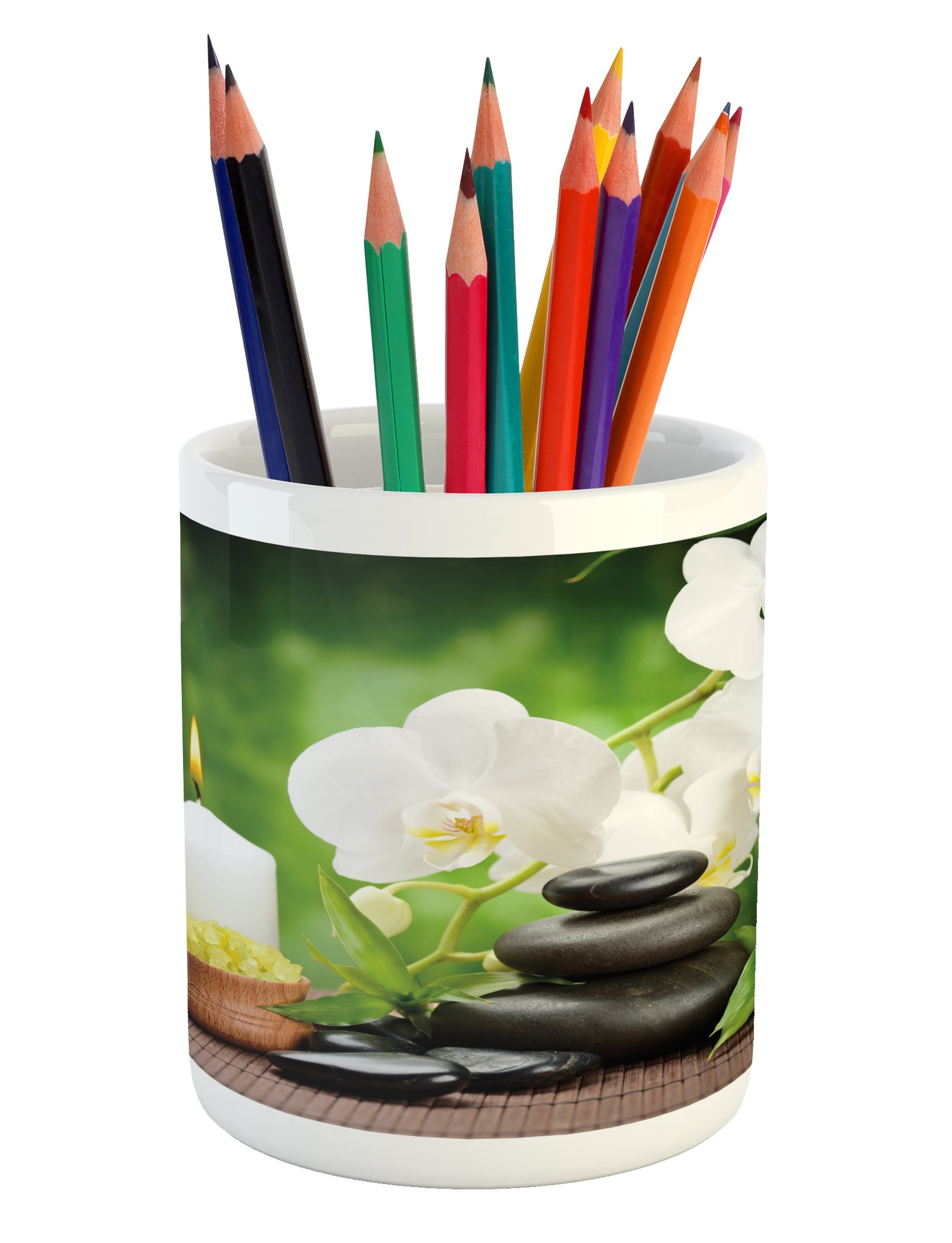 Ambesonne Spa Pencil Pen Holder, Zen Stones with Orchid and Candles Green Plants at the Background Print, Printed Ceramic Pencil Pen Holder for Desk Office Accessory, White Green and Black
