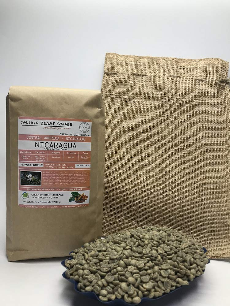 5 Pounds – Southern Central America – Nicaragua – Unroasted Arabica Green Coffee Beans – Grown In Region Jinotega – Altitude 1100-1350 Meters – Drying/Milling Process Is Washed - Includes Burlap Bag