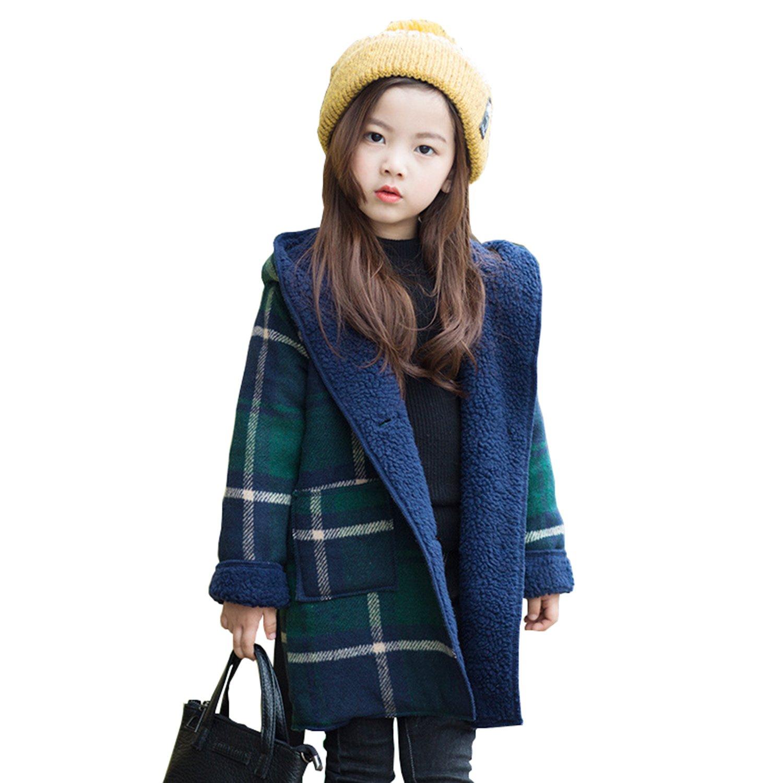 Euno Girls Autumn and Winter Girls College Style Plaid Lamb Coat Childrens Coat Jacket