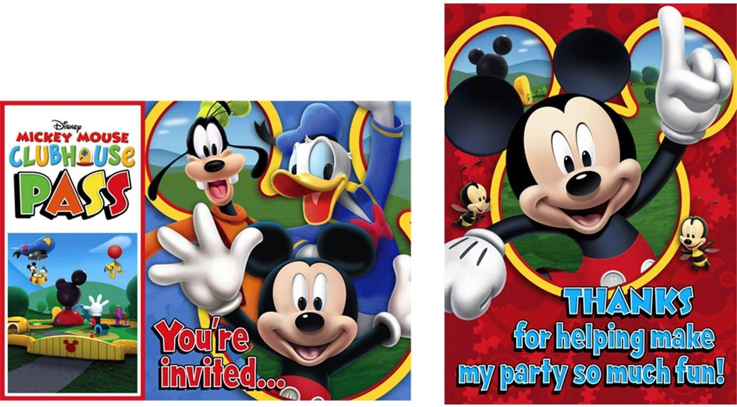 Party Invitations Disney Hallmark Mickey Mouse Clubhouse  8 Invites Per Pack