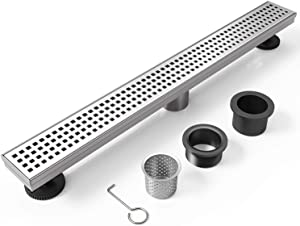 WEBANG 36 Inch Rectangular Linear Shower Floor Drain With Accessories,Quadrato Pattern Grate Removable,Food-grade SUS 304 Stainless Steel,WATERMARK&CUPC Certified,Brushed