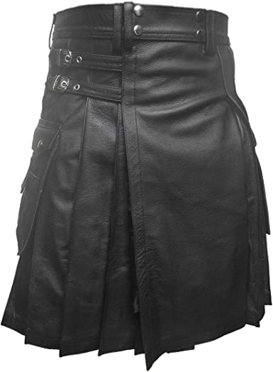 Men Gladiator Kilt BROWN Leather  Pleated Utility FLAT FRONT TWIN CARGO POCKETS