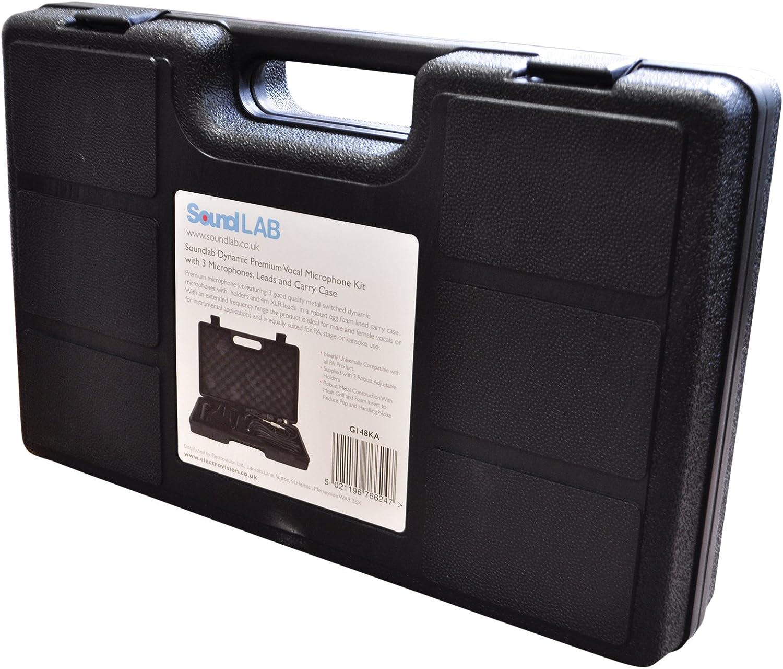 laisses et Housse de transport Soundlab dynamique microphone vocal Premium kit avec 3/Microphones