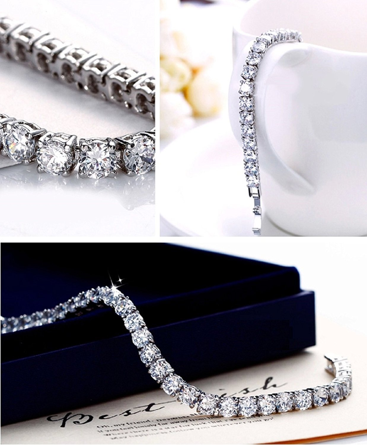 Meetyoo Tennis Bracelet With Swarovski Elements Crystal Jewelry Women Lady Zirconia Platinum Plated Bangle for her by Meetyoo (Image #3)