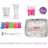 AsianHobbyCrafts Candle Making Kit Contents: Transparent Gel Candle Wax, Wax Colors, Candle Wicks, Acrylic Candle Container