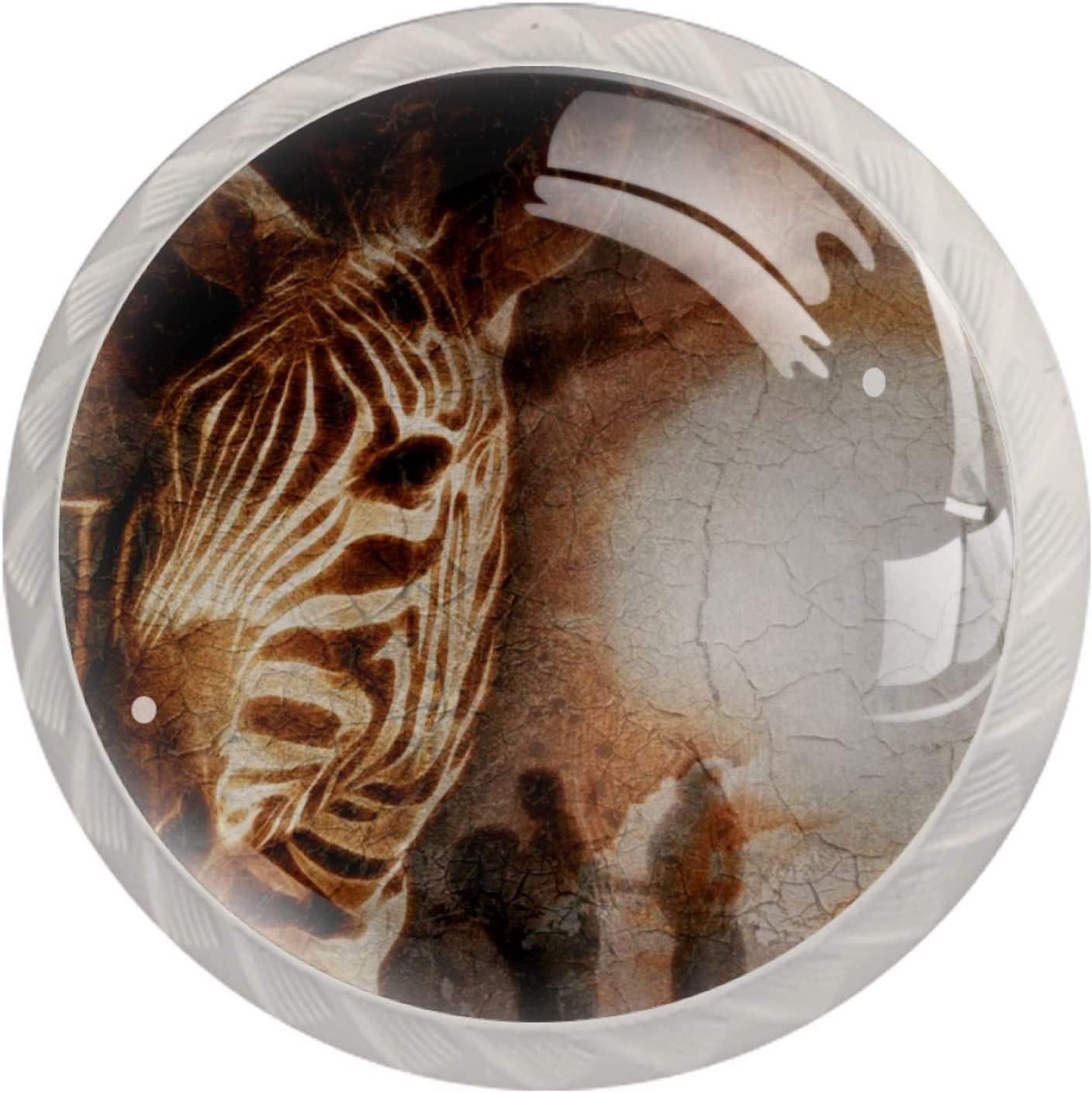 Idealiy African Savanna Zebra Door Drawer Pull Handle Furniture Decoration for Kitchen Cabinet Dressing Table