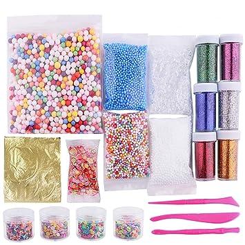 39 Piezas Kit de Fabricación de Slime Incluye Hoja Oro, Bolas de Espuma, Tarros