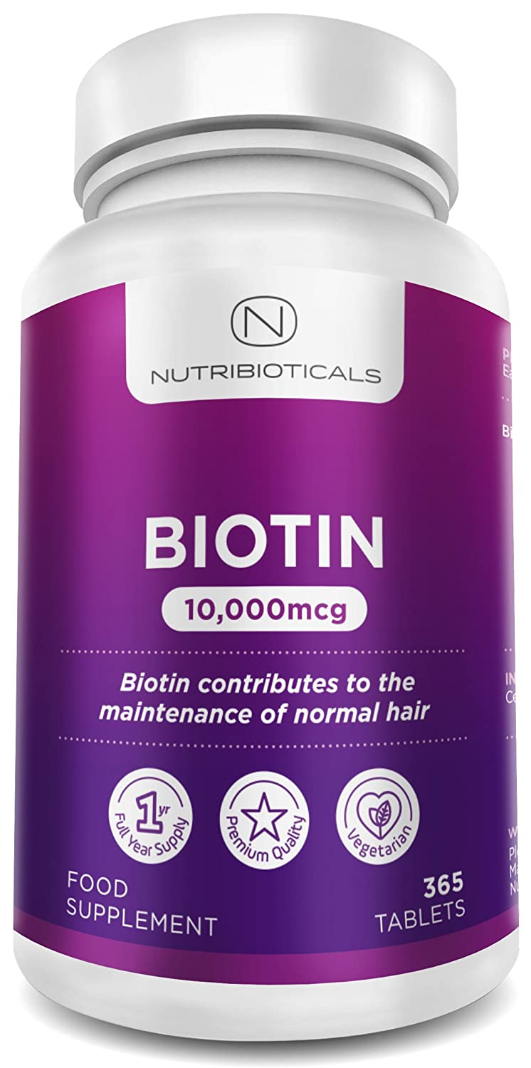Biotin Hair Growth Supplement 365 Tablets (Full Year Supply) Biotin 10,000mcg By Nutribioticals by Amazon