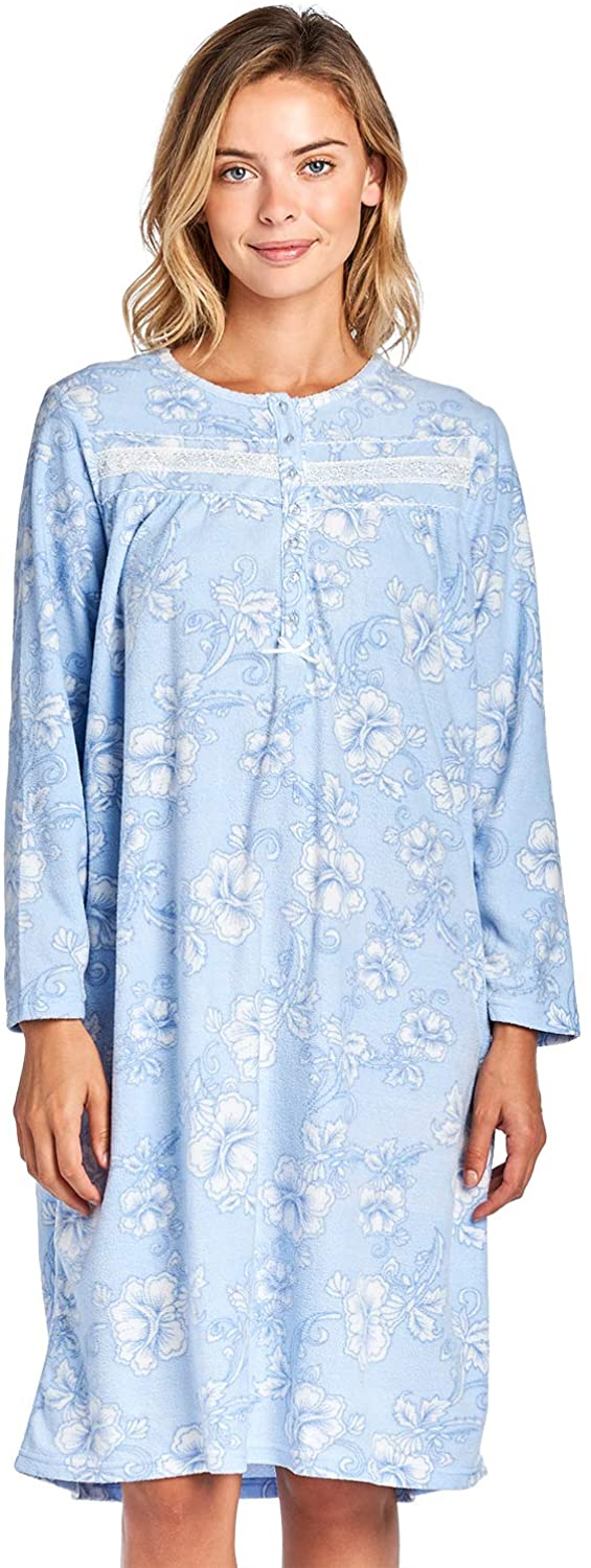 Casual Nights Women's Cozy Long Sleeve Fleece Nightgown at  Women's Clothing store