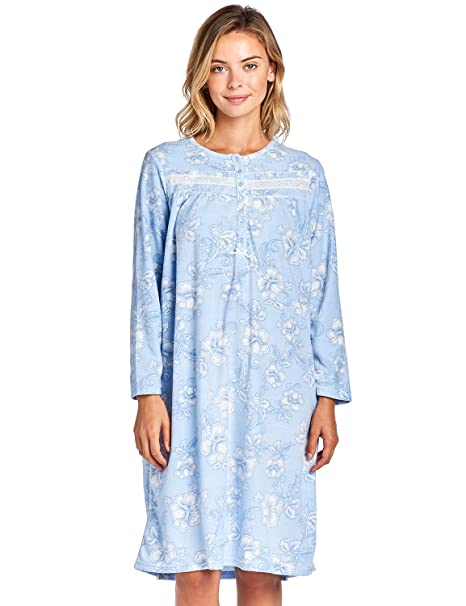 Casual Nights Women s Cozy Long Sleeve Fleece Nightgown - Floral Blue -  XXX-Large b76005e29