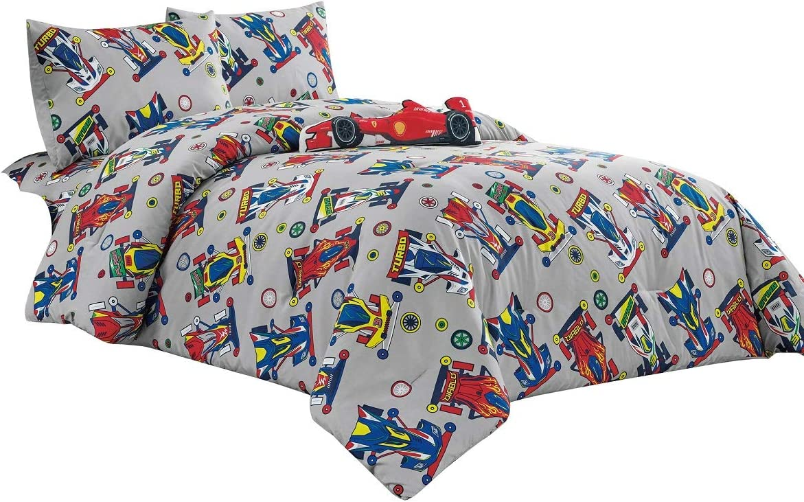 WPM Kids Collection Bedding 5 Piece Sport car Full Size Comforter Set with Grey Sheet Pillow sham and red Race Car Toy Fun Sports Design (Race Me Cars, Full Comforter)