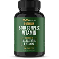 MAV Nutrition Vitamin B Complex Capsules with Folate + Vitamin B12, Vegetarian Friendly...