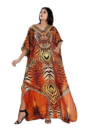 593ef3e07 Silk kaftan Animal Print Full Length Jeweled Kaftan Dress for Woman ...