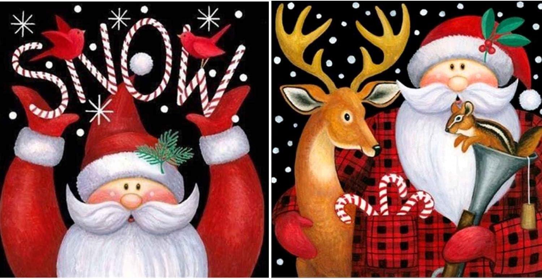Whaline 4Pcs Christmas Diamond Painting Kit 5D Full Drill Rhinestone Embroidery Cross Stitch Painting for Christmas Home Decor Christmas Tree Deer Carriage Snow