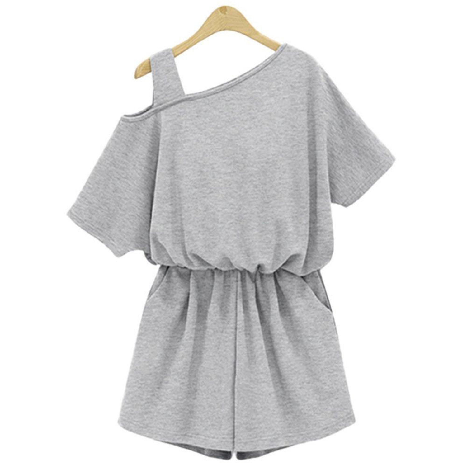 Ygosoon jumpsuits Jumpsuit Army Green Rompers 4XL Ladies Ladies Beach Wear Clothes Gray XL