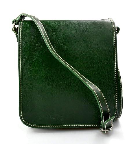 a8ea6c09e Bolso de cuero bandolera de piel cartero verde de hombre de mujer de cuero  bolso de
