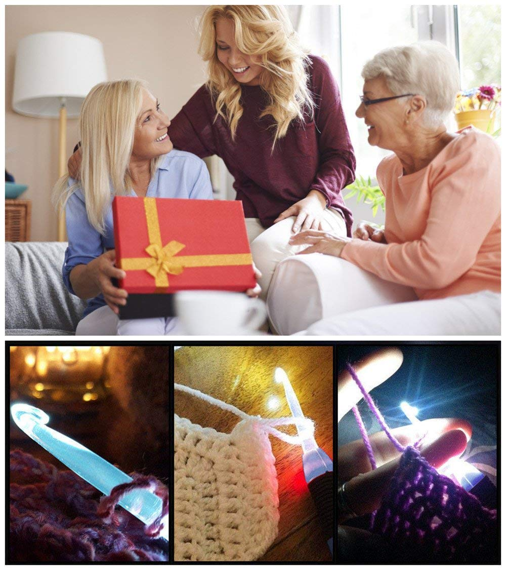 Light Up Crochet Hooks,Lighted Crochet Hook Set Led 9 in 1 Interchangeable Heads by Yarniss (Image #8)