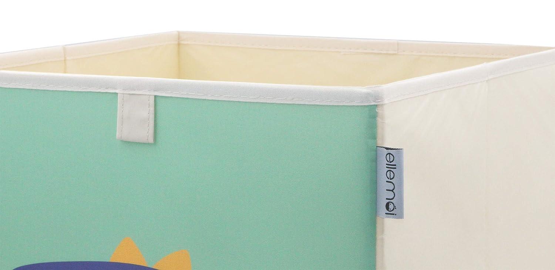 Kleiner Dinosaurier ELLEMOI Kinder Aufbewahrungsbox 33x33x33 Spielzeugbox Praktische Aufbewahrungsbox f/ür Kinderzimmer