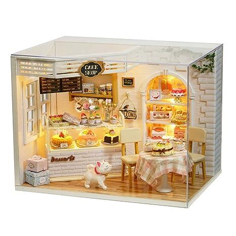 Amazon Com Asidiy 3d Wooden Dollhouse Miniature Diy Doll House Kit