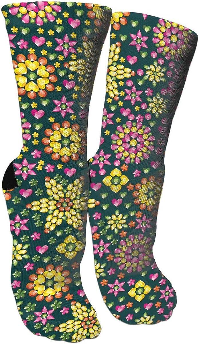 Gemstone Flower Crazy Socks Casual Socks Funny For Sports Boot Hiking Running Etc.