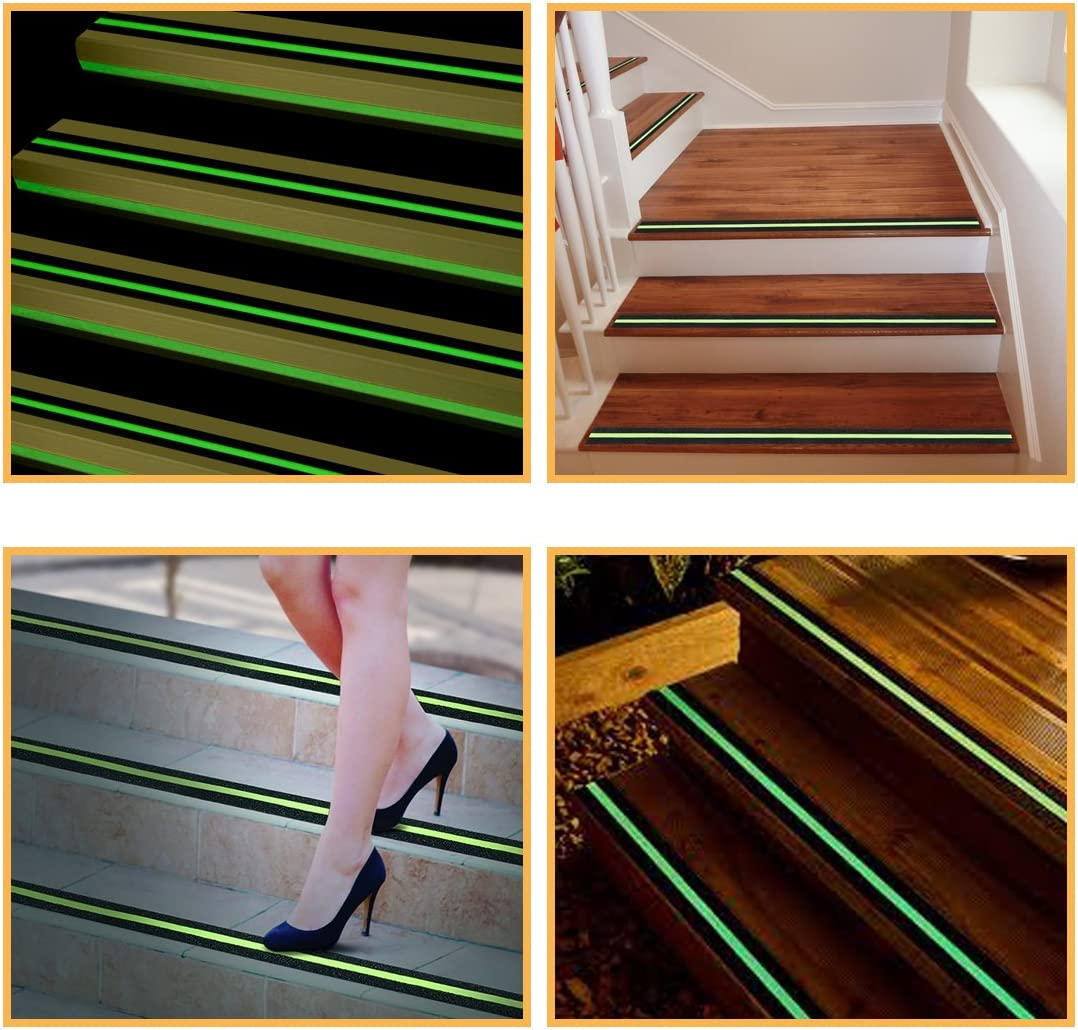 Pre-Cut 10pcs x 2 Inch x 12 Inch Non Slip Safety Step Strip with Rounded Corners EONBON Anti-Slip Traction Tape Black Nonskid Stair Treads for Indoor /& Outdoor use