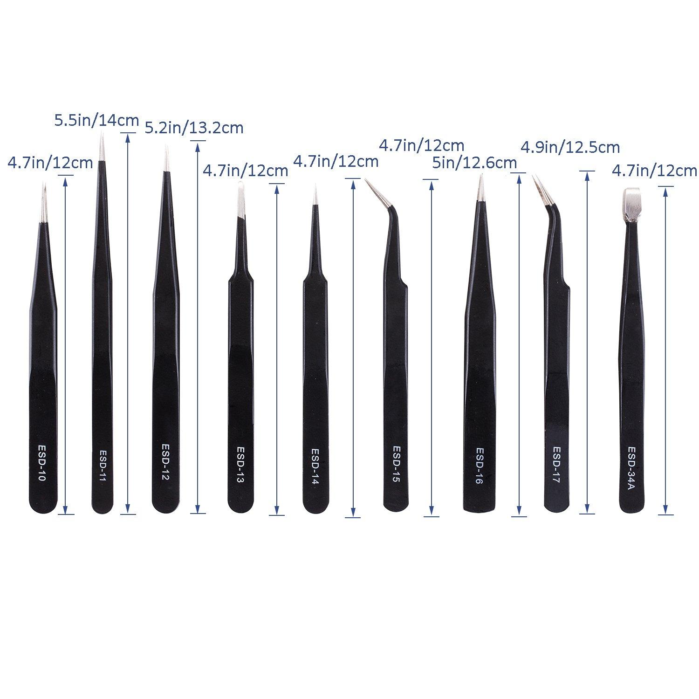9PCS ESD Tweezers Stainless Steel Anti-static Precision Tweezers Repair Tool RDU