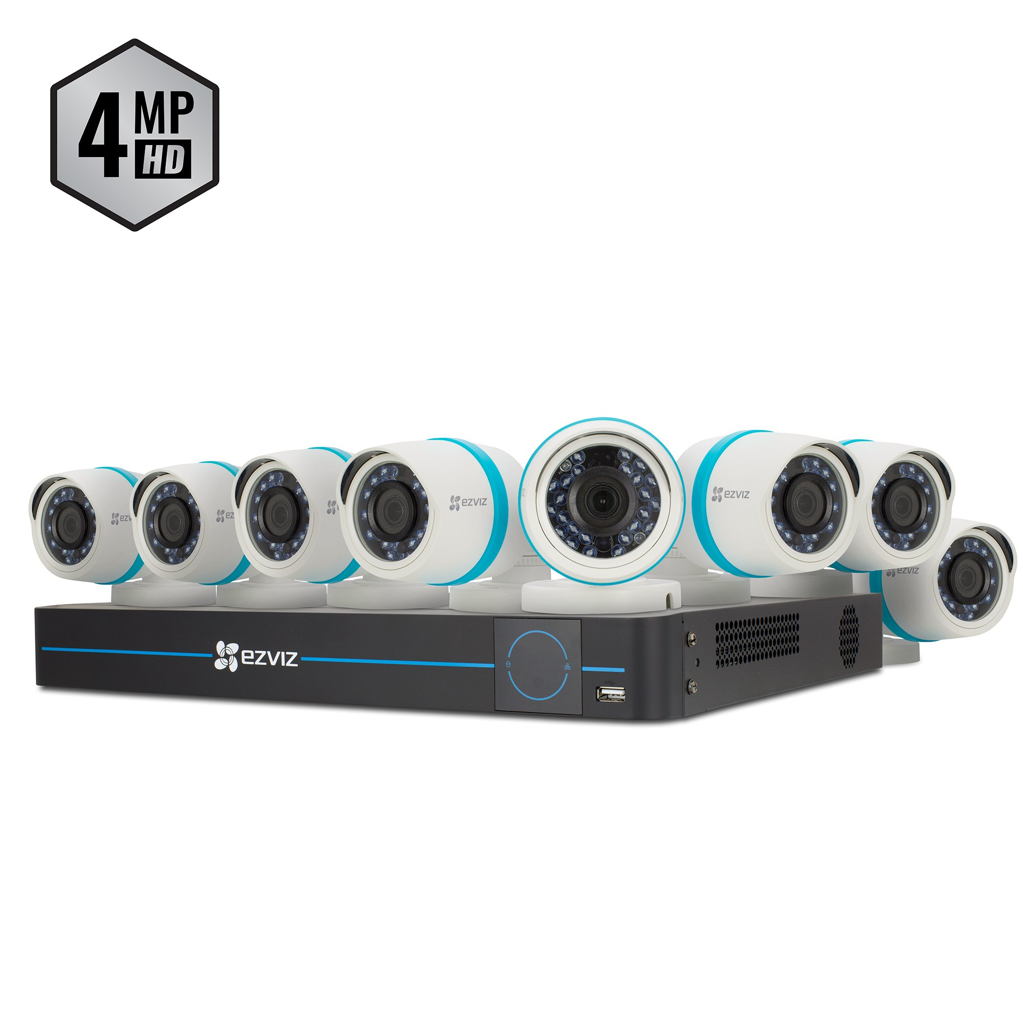 EZVIZ Outdoor 4MP IP PoE Video Security Surveillance System, 8 Weatherproof HD Cameras, 16 Channel 3TB NVR Storage, 100ft Night Vision, Motion Tracking