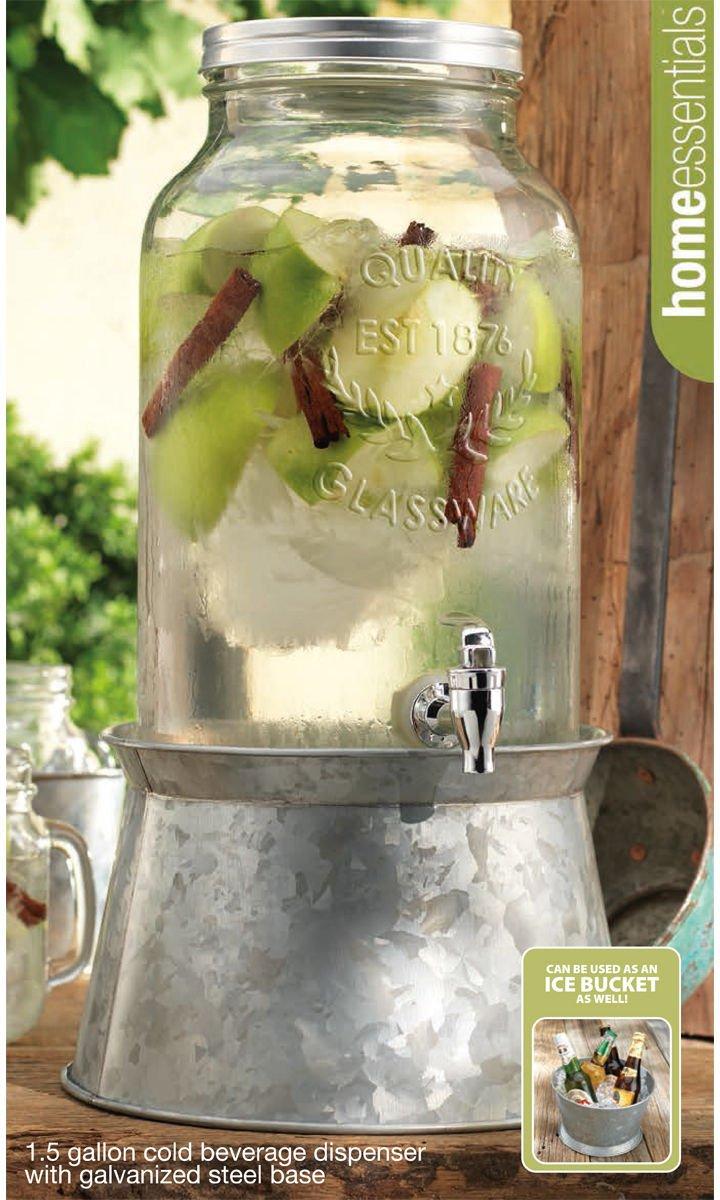 Home Essentials & Beyond 1874 Home Essentials 1.5 Gallon Beverage Dispenser with Galvanized Base 1.5-Gal. Clear