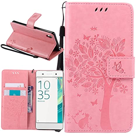 Supporter Flip PU Cuir Pochette Portefeuille Housse Coque Etui pour Sony Xperia XA avec Crédit Carte Tenant Fente Xperia XA Coque C-03 Dooki