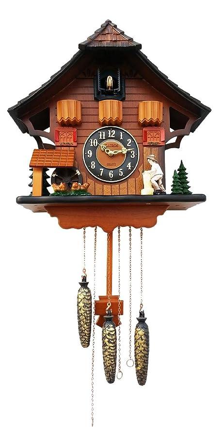Cuco reloj de cuco musicales timbre avisador pájaros que viven dormitorio reloj de pared den