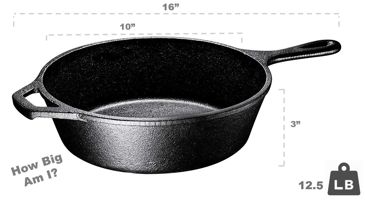 Ultimate Pre-Seasoned 2-In-1 Cast Iron Multi-Cooker By Bruntmor – Heavy Duty 3 Quart Skillet and Lid Set, Versatile Healthy Design, Non-Stick Kitchen Cookware, Use As Dutch Oven Frying Pan by Bruntmor (Image #5)