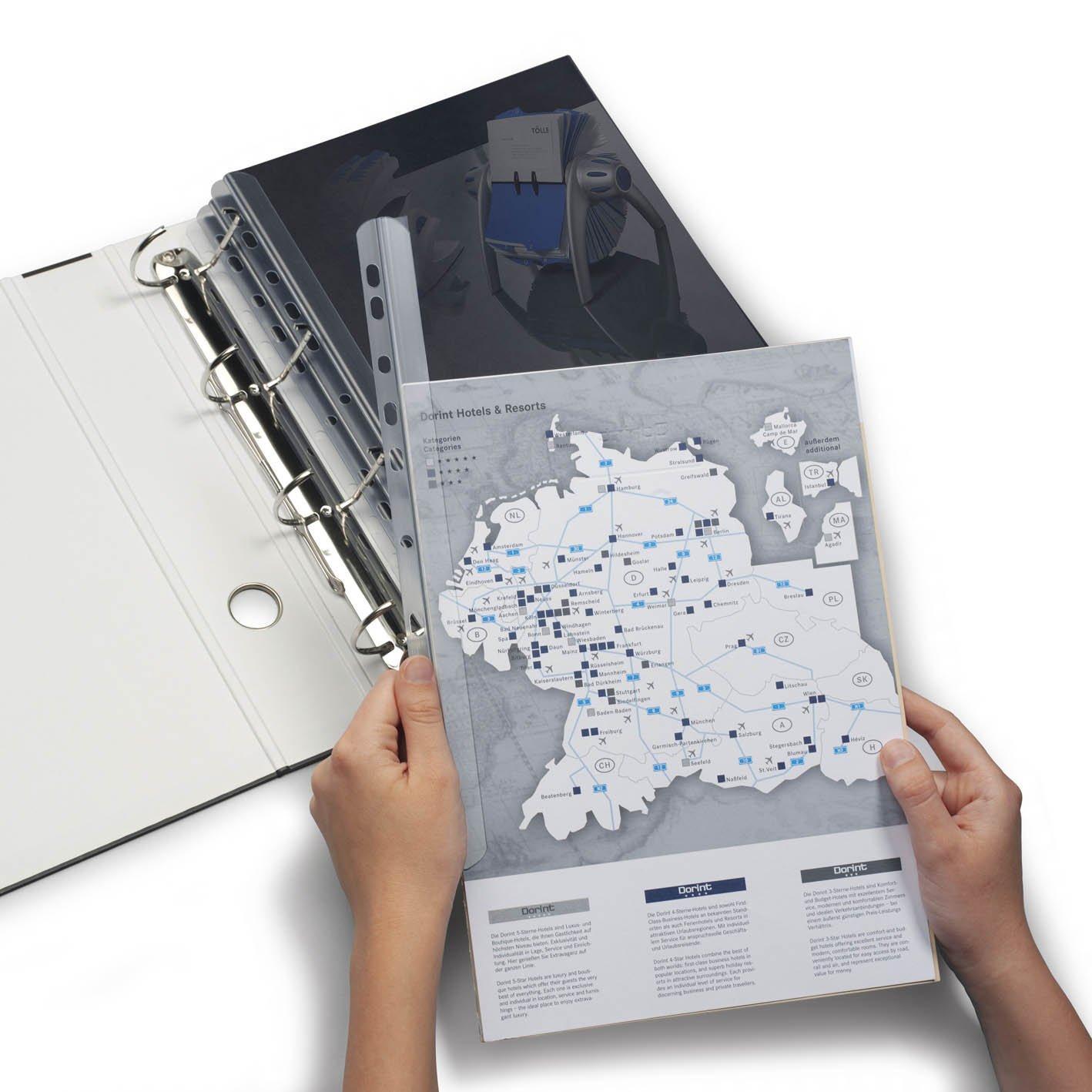 Dorsino rilegafogli DURABLE 290219 capacit/à 30 fogli lunghezza 297 mm confezione da 50 pezzi larghezza 14,5 mm dorso 3 mm trasparente