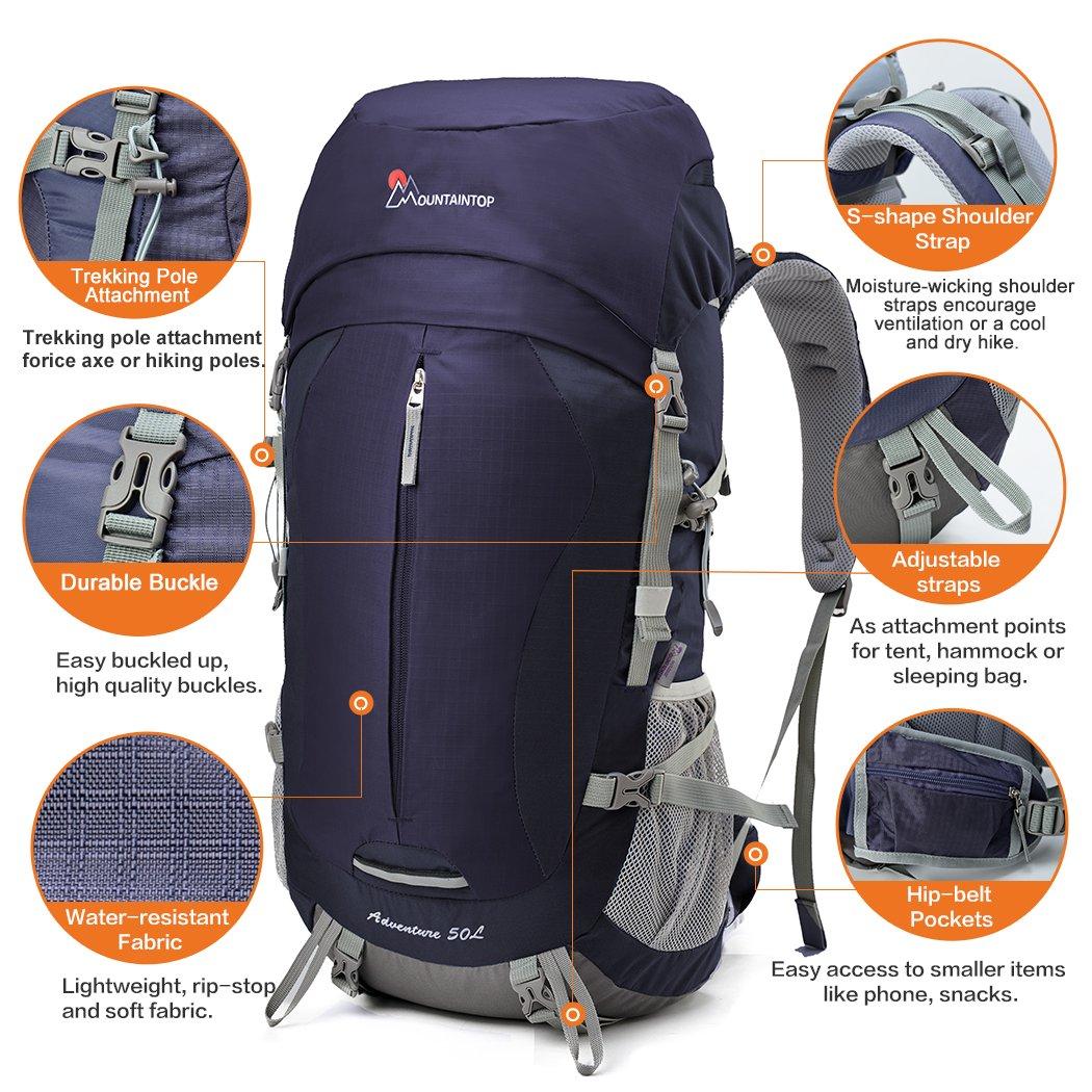 Mountaintop 5818III - Mochilas de senderismo con cubierta impermeable para la lluvia, capacidad: 50 L, para acampadas, caminatas y actividades al aire libre ...
