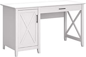 Bush Furniture Key West 54W Computer Desk with Storage, Pure White Oak