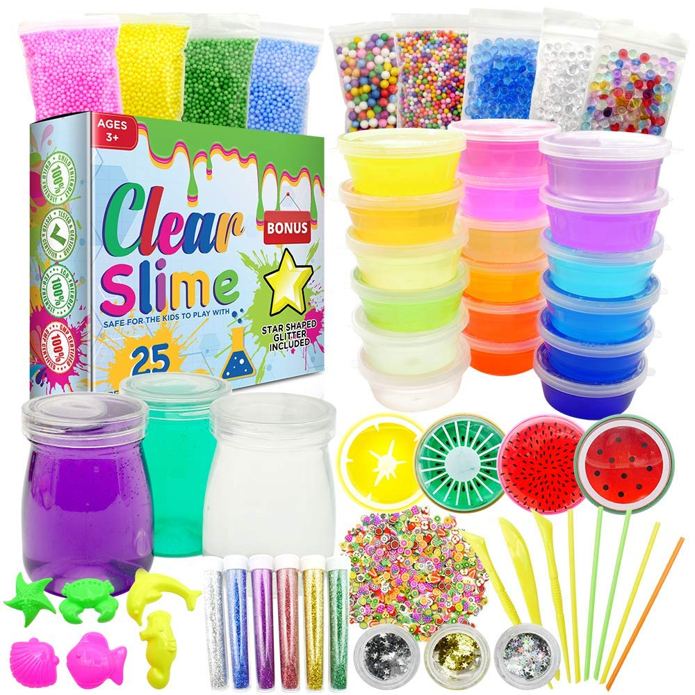Clear Slime 58Pc Crystal Slime Kit for DIY Crystal Slime Set   25 Colors Slime, 6 Pack Foam Beads, 4 Scented Fruit & 3 Jars   Complete Supplies & Glitter Accessories for Boys & Girls by Clear Slime