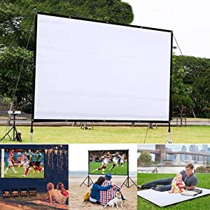 Lanbter 60 Inch 4:3 HD Projector Screen, Portable Video Screen Widescreen Foldable Anti-Crease Indoor Outdoor Projector Movies Screen