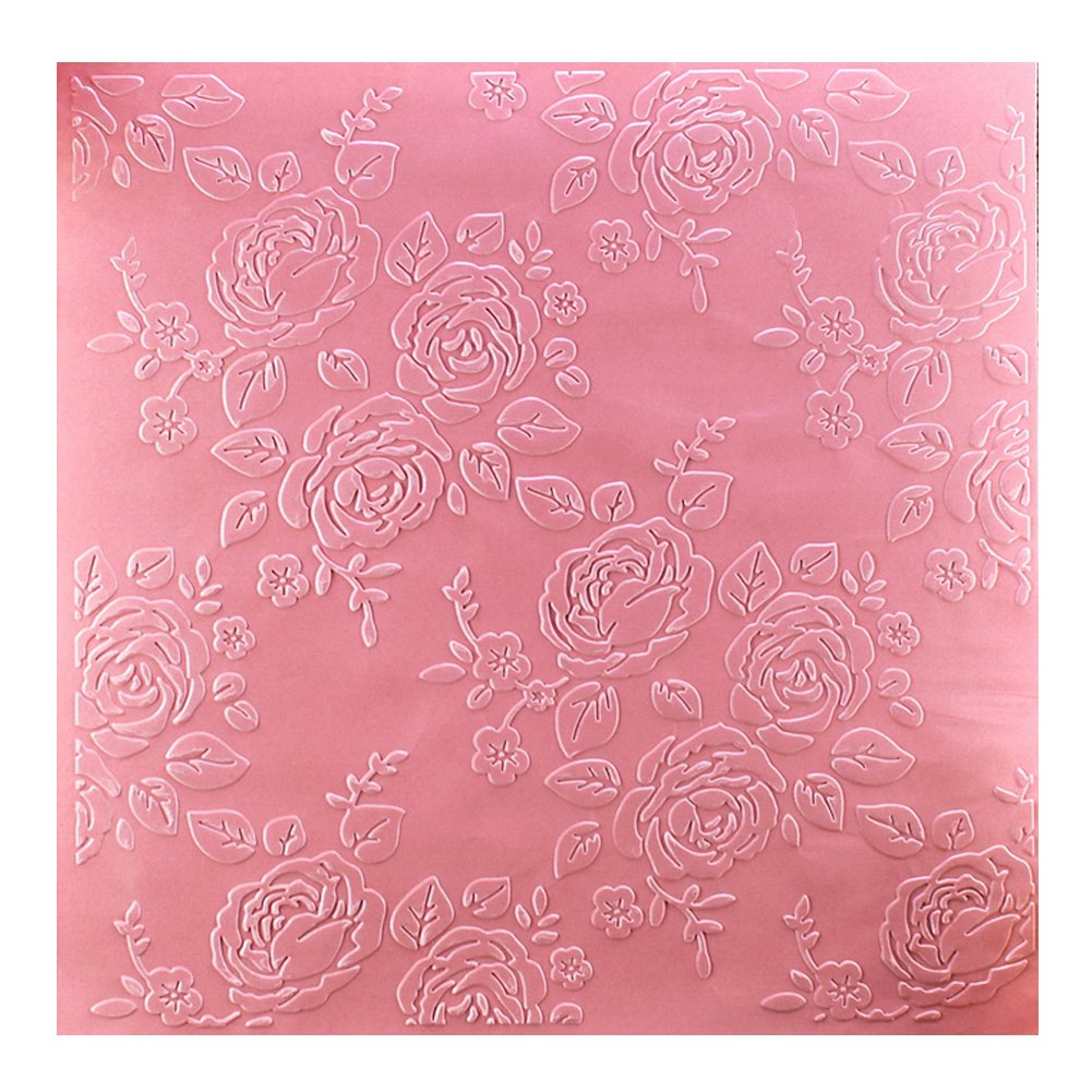 Kwan Crafts Large Size Rose Flowers Plastic Embossing Folders for Card Making Scrapbooking and Other Paper Crafts, 19.8x19.8cm