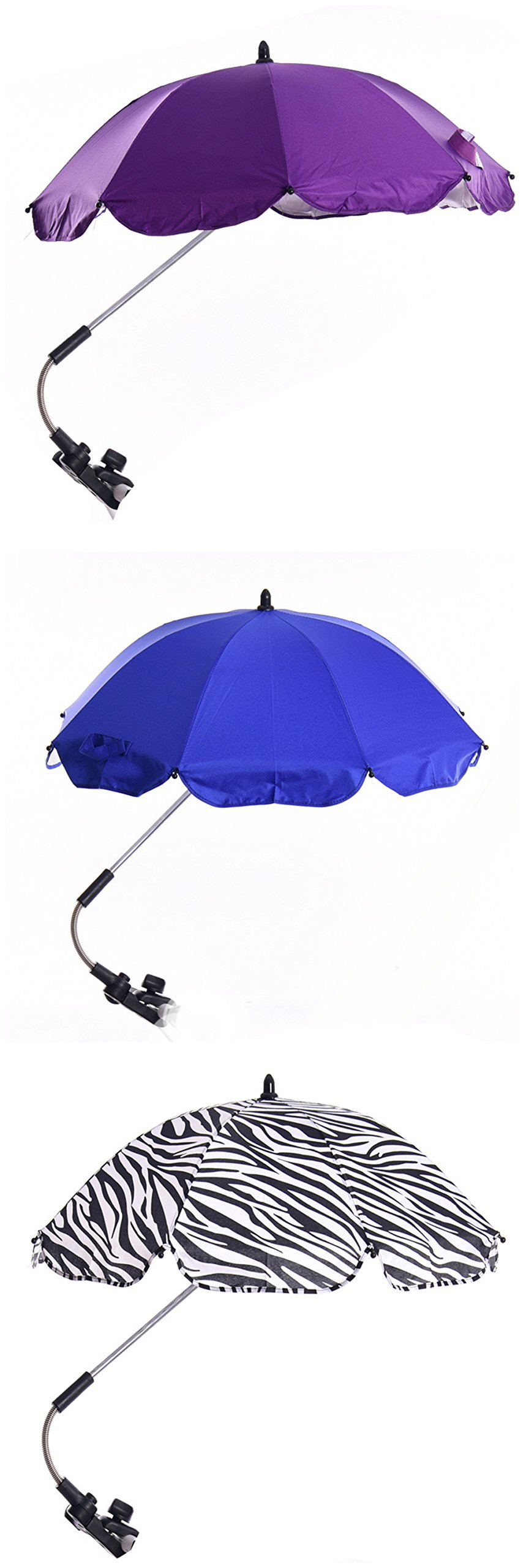 Katech Detachable Stroller UV Protection Umbrella Adjustable Baby Pram Pushchair Sun Shade Parasol with Universal Clamp by Katech (Image #7)