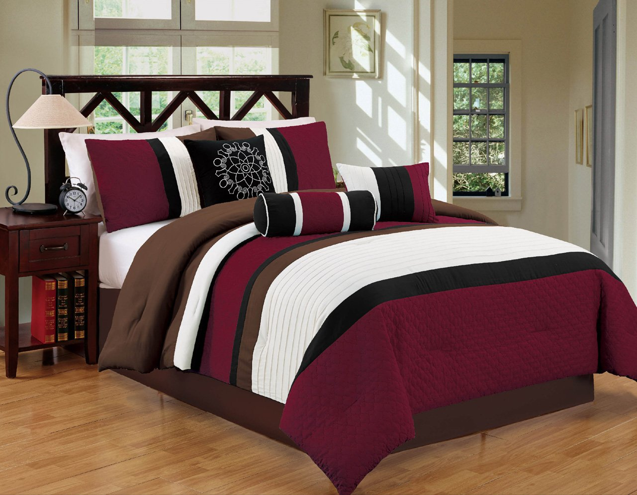 Modern 7 Piece Bedding Burgundy Brown White Black Pin Tuck Embroidered King