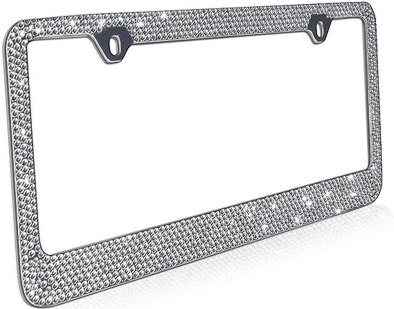 OxGord Rhinestone License Plate Frame Metal Chrome Diamond Bling Glitter Custom 12 Rows of Diamonds