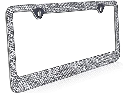 Amazon.com: OxGord Rhinestone License Plate Frame Metal Chrome ...