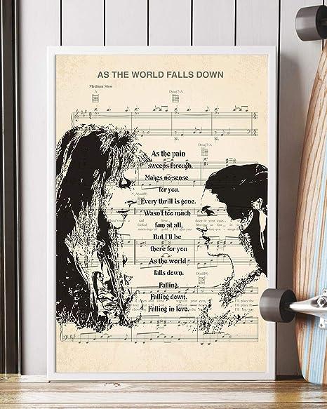 Amazon.com: As The World Falls Down Song Lyrics Decor ... on maps art, maps food, maps photography, maps design,