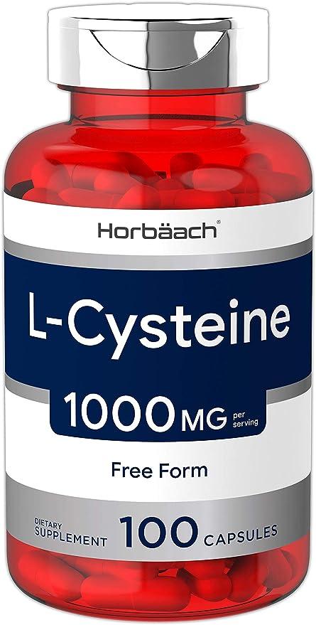 L Cysteine 1000mg | 100 Powder Capsules | Non-GMO, Gluten Free Supplement | by Horbaach